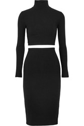 Reformation Two Piece Ribbed Jersey Dress Black