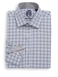 English Laundry Regular Fit Plaid Cotton Dress Shirt Navy