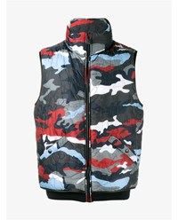 Moncler Gamme Bleu Quilted Camouflage Print Gilet Multi Coloured Black Navy Denim