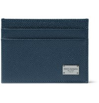 Dolce And Gabbana Grained Leather Cardholder Blue