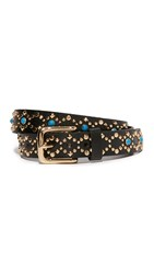 Rebecca Minkoff Flat Strap Belt With Studs Black Pale Polished Gold