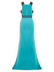 Roland Mouret Cavell Lace Insert Satin Gown Blue Multi