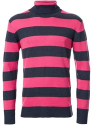 Guild Prime Striped High Neck Jumper Grey
