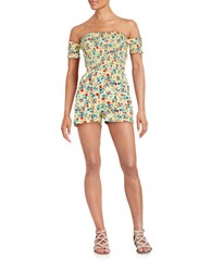 Design Lab Lord And Taylor Floral Cold Shoulder Romper Yellow