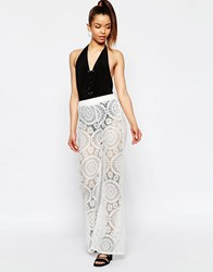 Jaded London Crochet Flared Trousers White