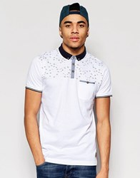 Brave Soul Contrast Chest Bird Polo White