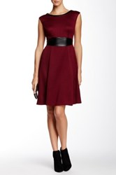 Maggy London Sleeveless Pleather Trim Textured Knit Flared Dress