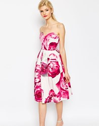 Asos Bright Pink Floral Bandeau Midi Prom Dress Multi