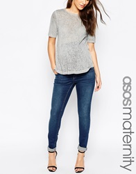 Asos Maternity Ridley Skinny Jean In Mid Wash With Over The Bump Waistband Midwash