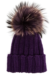 Inverni Fur Bobble Beanie Pink And Purple