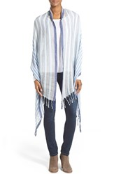 Women's Caslon 'Candy Stripe' Linen Blend Wrap Blue Blue Combo