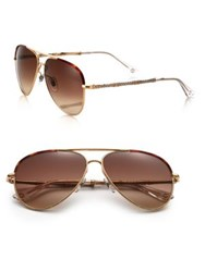Gucci 59Mm Bamboo Detail Metal Aviator Sunglasses Gold