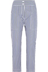 Adam By Adam Lippes Cropped Striped Cotton Slim Leg Pants Navy