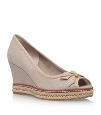 Tory Burch Peep Toe Wedges Female Beige