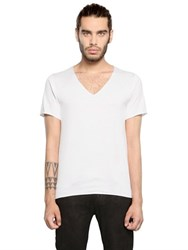 Giorgio Brato Raw Cut Cotton Jersey V Neck T Shirt