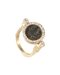 Antiquity 20K Flip Coin Ring With Diamonds Coomi
