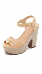 Schutz Noreen Platform Sandals Light Wood