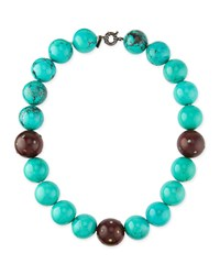 Valhalla Mixed Turquoise And Wood Bead Necklace M.C.L. Design By Matthew Campbell