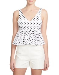 1.State Sleeveless Polka Dot Peplum Blouse White