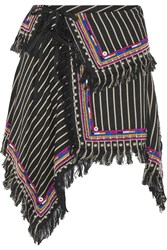 Isabel Marant Raffi Embellished Striped Denim Wrap Mini Skirt Black