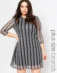 Club L Plus Swing Dress In Zig Zag Fabric Black White Knit