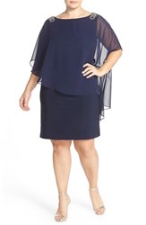 Xscape Evenings Plus Size Women's Xscape Embellished Chiffon Overlay Jersey Dress