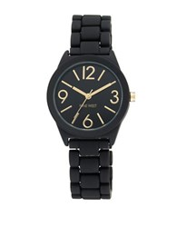 Nine West Matte Rubber Link Bracelet Watch Black