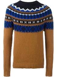 Moncler Fair Isle Knit Sweater Brown