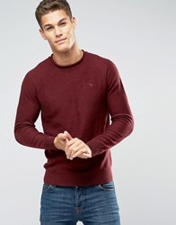 Abercrombie And Fitch Knit Jumper Logo Slight Roll Neck Melange In Red Burgundy