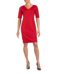 Gabby Skye Solid V Neck Dress Red