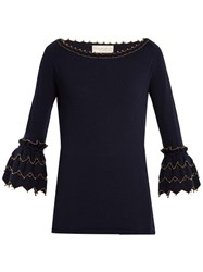 Alex Gore Browne Zigzag Wool And Cashmere Blend Sweater Navy