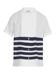 Acne Studios Ody Striped Short Sleeved Cotton Shirt