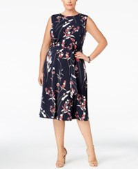 Charter Club Plus Size Floral Print Midi Dress Only At Macy's Deepest Navy Combo