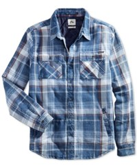 Rusty Strand Plaid Shirt Jacket Navy