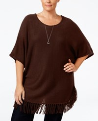 Ny Collection Plus Size Knit Fringe Poncho Sweater Coco Velvet