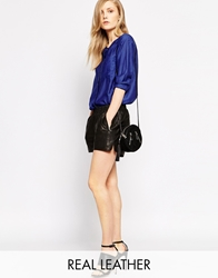 Selected Leather Shorts Black