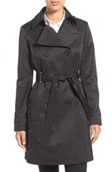 Via Spiga Women's Double Breasted Trench With Faux Leather Trim Black