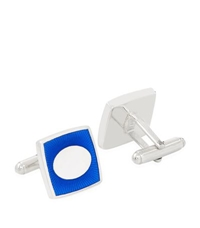 Carrs Of Sheffield Square Enamelled Sterling Silver Cufflinks