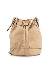 Neiman Marcus Sierra Drawstring Bucket Bag Buff