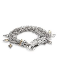 John Hardy Naga 18K Yellow Gold And Sterling Silver Dragon Charm Multi Strand Bracelet Silver Gold
