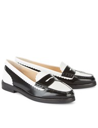 Isa Tapia Black And White Leather Caroline Loafers