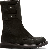Rick Owens Black Suede New Army Boots