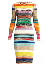 Missoni Striped Ribbed Knit Dress Orange Multi
