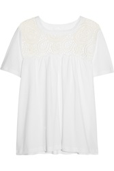 Chloe Guipure Lace Paneled Cotton Jersey Top