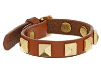 Rebecca Minkoff Single Row Leather Bracelet With Pyramid Studs Almond Gold Bracelet Brown