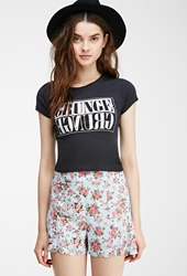 Forever 21 Rose Print High Waisted Shorts Light Blue Pink
