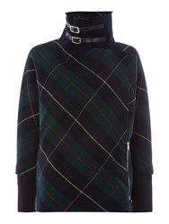 La Fee Maraboutee Tartan Jacket High Collar Buckle Green