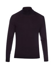 Lanvin Roll Neck Fine Knit Silk Sweater Blue