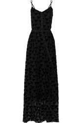 Band Of Outsiders Flocked Chiffon Maxi Dress Black