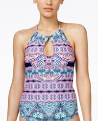 Jessica Simpson Mojave Tribal Print High Neck Keyhole Tankini Top Women's Swimsuit Marine